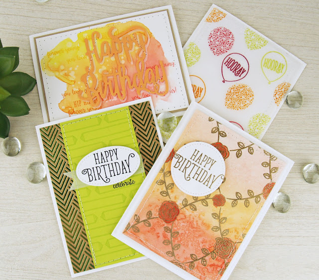 The Happy Birthday Gorgeous stamp set from Stampin' Up!- now that is versatility! Watercolor, embossing, foil designer series paper, dies! Tanya Boser for the Artisan Design Team