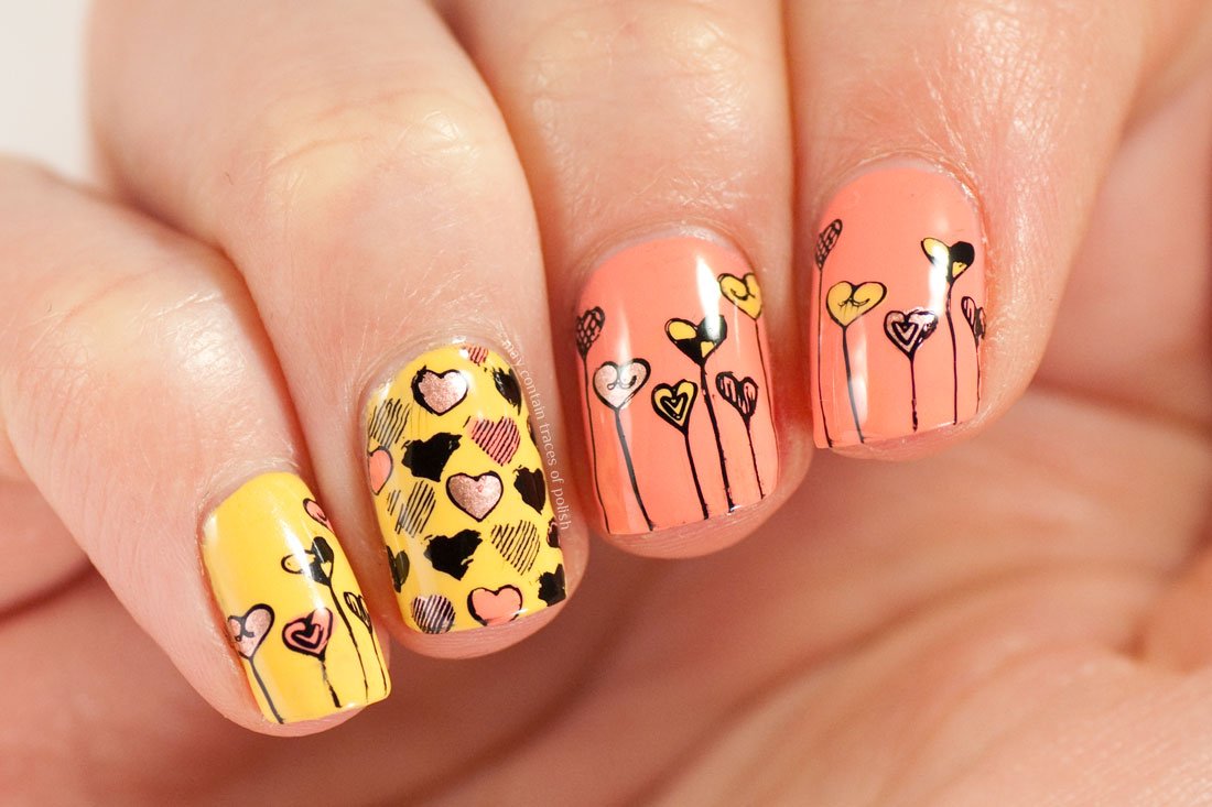Mustard And Coral Heart Nails May Contain Traces Of Polish
