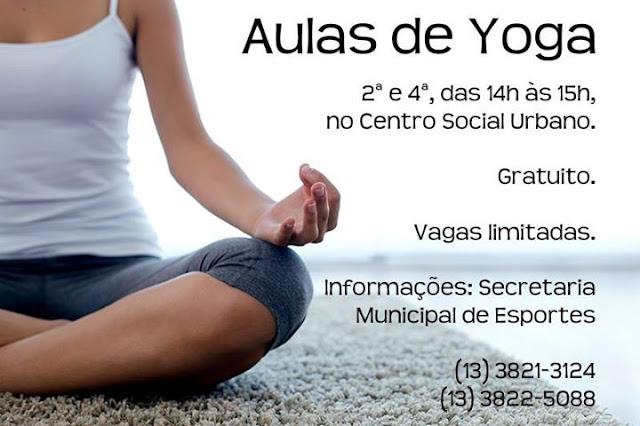 PREFEITURA DE REGISTRO-SP OFERECE AULAS GRATUITAS DE YOGA
