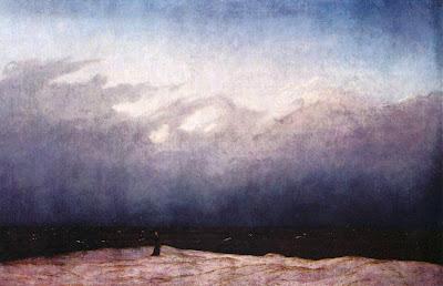 mnich nad brzegiem morza obraz