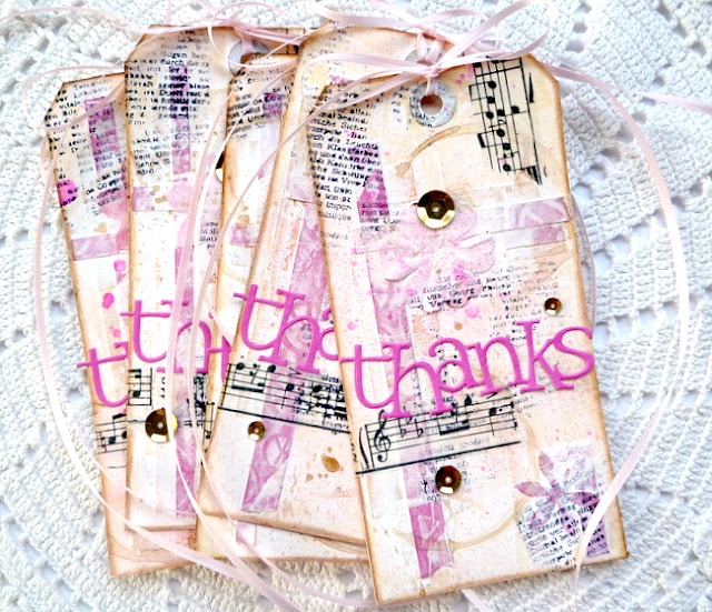 Mixed Media Pink Thank You Tags