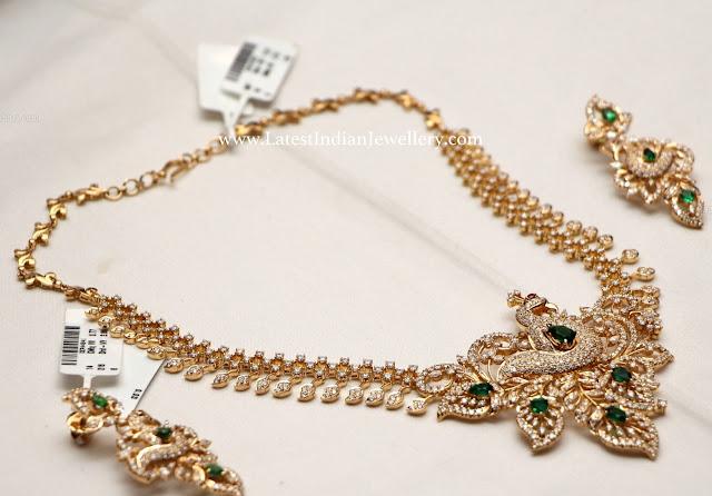 Peacock Leafs Design Diamond Necklace