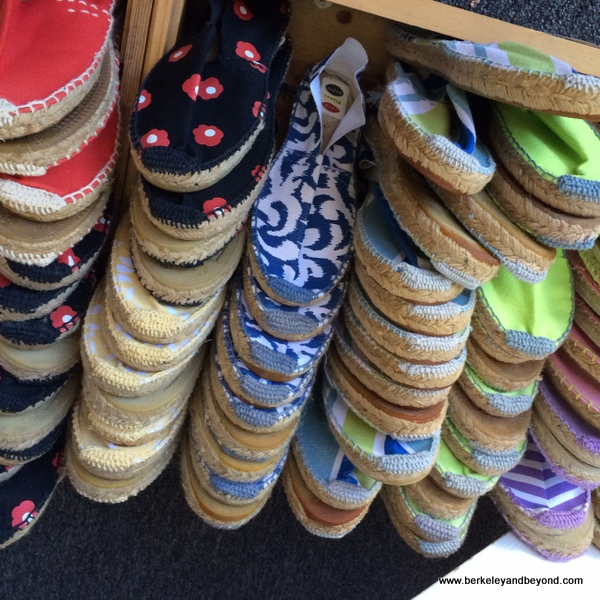 colorful espadrilles at rockflowerpaper shop in San Anselmo, California