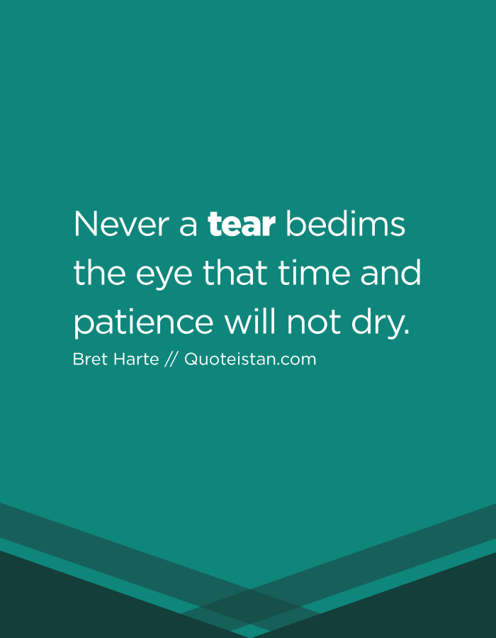 Never a tear bedims the eye that time and patience will not dry.