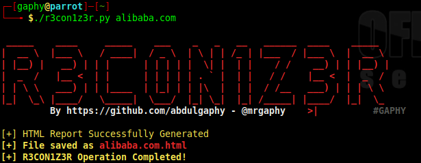 R3Con1Z3R - A Lightweight Web Information Gathering Tool