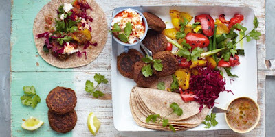 Try your hand at this quick and delicious vegetarian meal Falafel Wraps - Grilled Vegetables & Sals Recipe