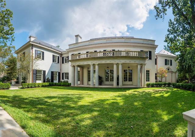 Washington DC luxury mansion Kalorama exterior lawn regency style limestone