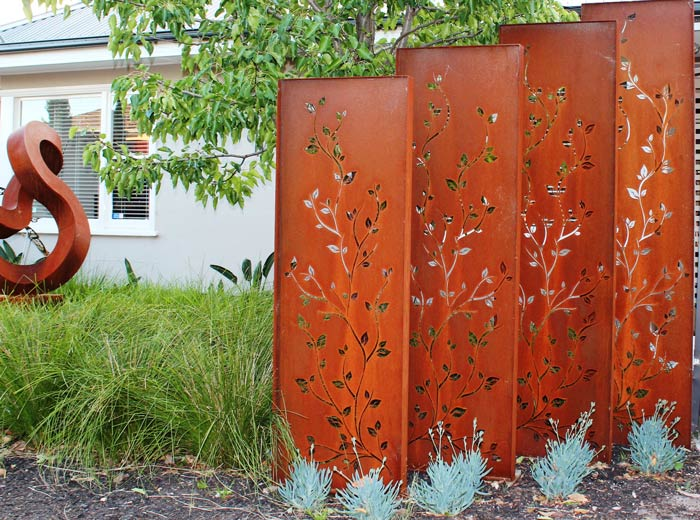 A Client Asked Me For To Come Up With Some Creative Ideas For The Upgrade  To Her Mature Landscape And I Came Across These Rusted Steel Privacy Screens .