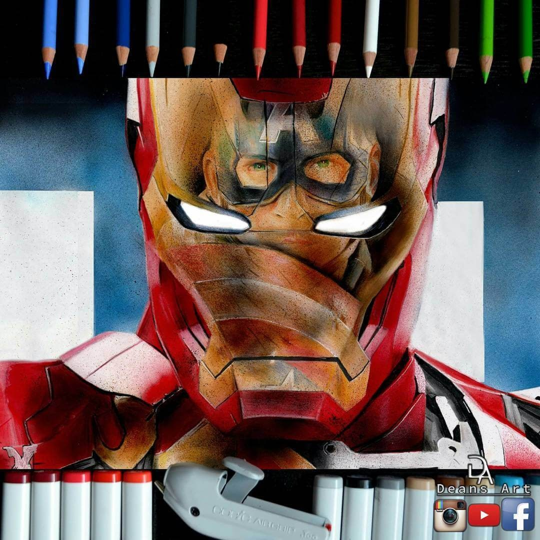 02-Ironman-vs-Captain-America-Dean-McCann-Superheroes-Villains-Monsters-and-Robot-Drawings-www-designstack-co