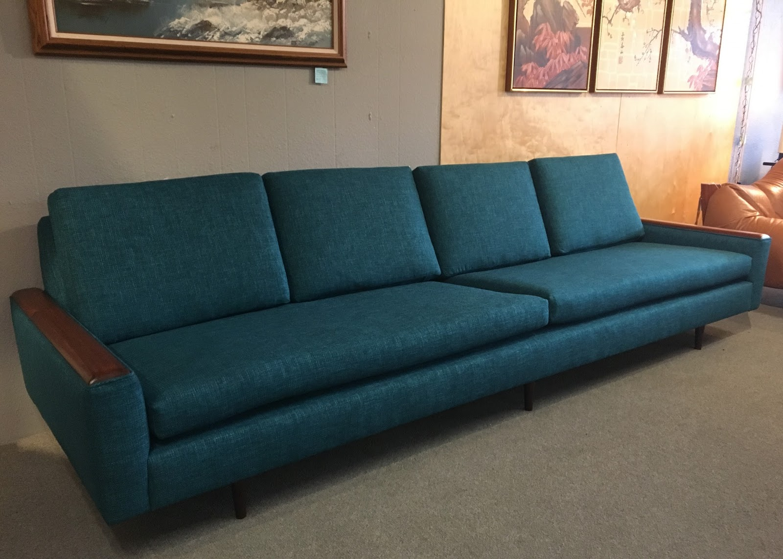 Our Biggest Project This Week Was Upholstering This 108u0027u0027 Long Sofa. I Have  Been Trying Out Some New Refinishing Techniques.