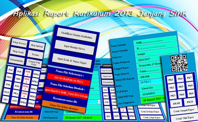 Download Aplikasi Raport Kurikulum 2013 Jenjang SMK dengan Format Excel