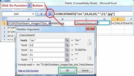 CONCATENATE Formula for rename multiple files