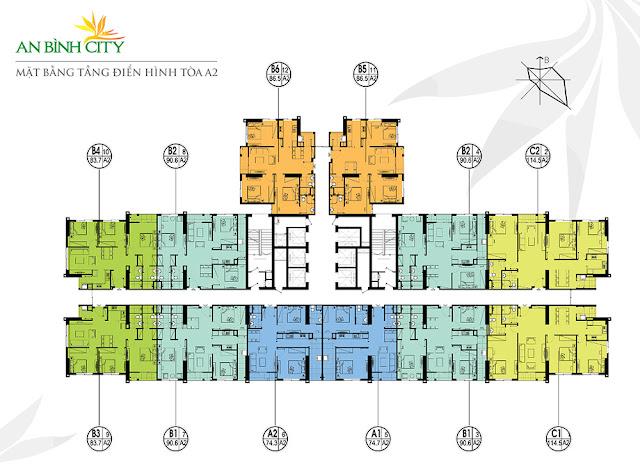 Mặt bằng tòa A2 chung cư An Bình City