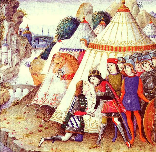 Ferdinando I, rei de Napoles recebe a homenagem de um cavaleiro, De Majestate, Juniano Majo, 1492.