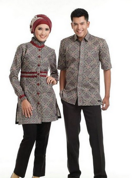 contoh model baju batik couple terbaru 2017