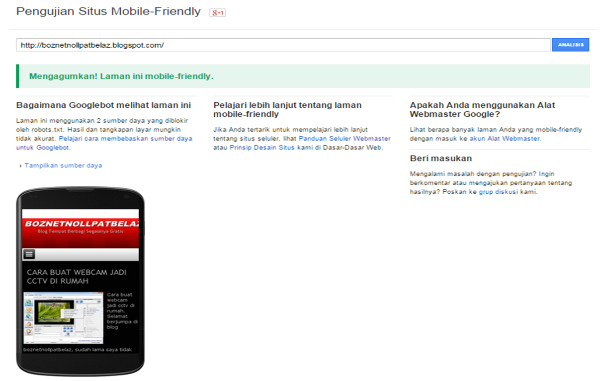 Bagaimana cara menguji situs atau blog mobile friendly ( google webmaster tools mobile friendly )