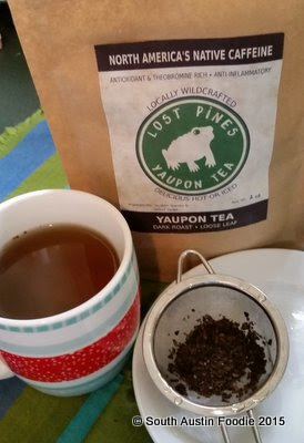 Lost Pines Yaupon Tea steeped dark roast