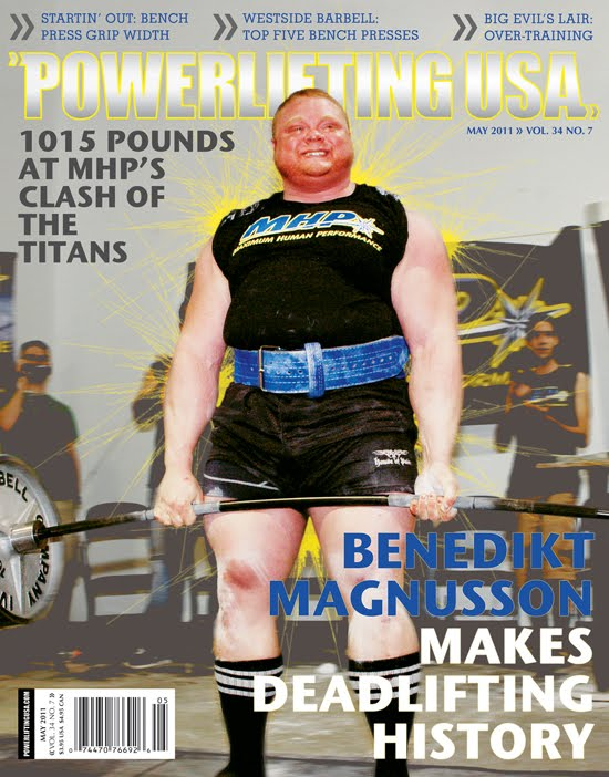 Benedikt Magnusson 1-RM Deadlift 1,015 pounds at MHP's Clash of the Titans on April 2, 2011. StrengthFighter.com