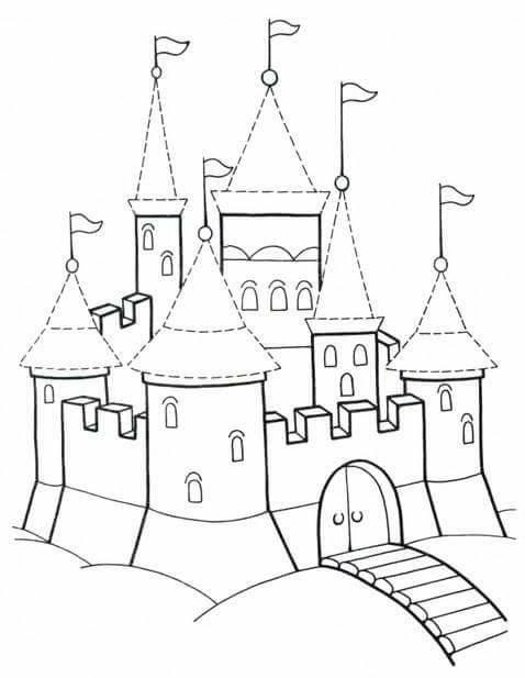 Tranh cho bé tô màu lâu đài 16