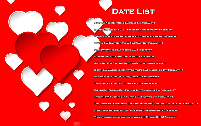 Valentine Day Date sheet