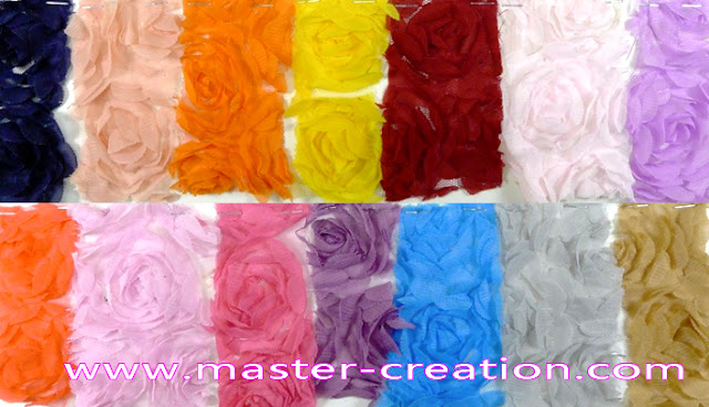 colorful rosette embroidery fabric.