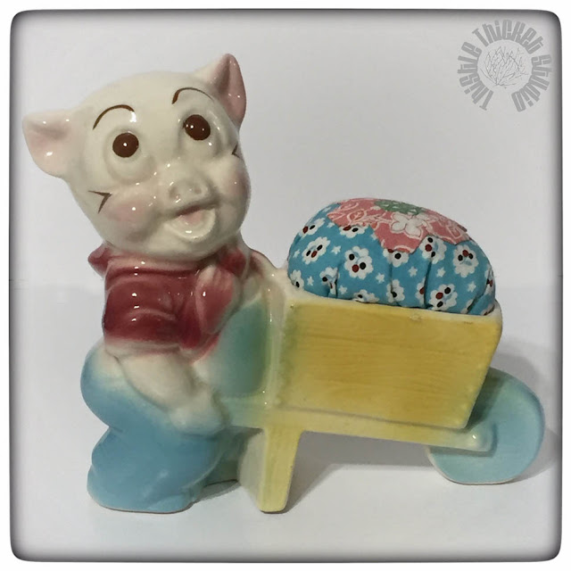 Vintage Pig Planter Pincushion by Thistle Thicket Studio. www.thistlethicketstudio.com