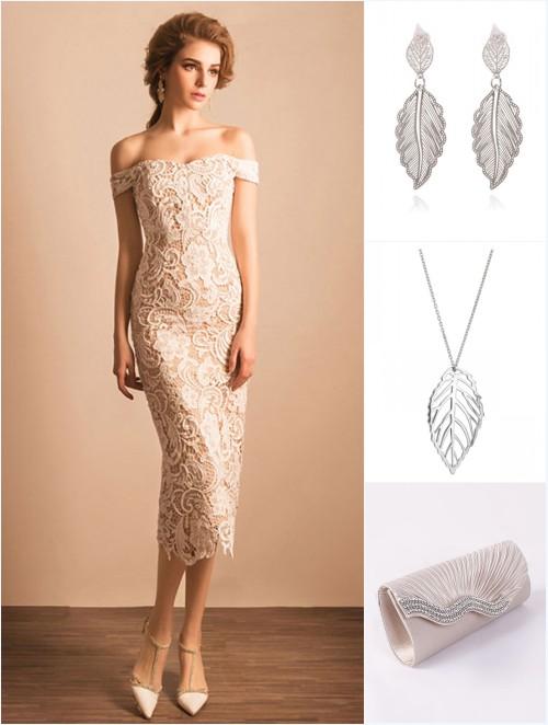 d28426ba61 robe de soirée blanche fourreau dentelle, bijoux et sac