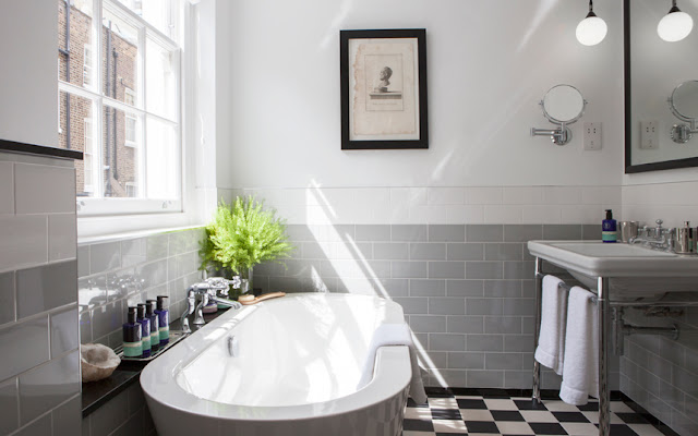 Classic vintage bathroom at The Laslett Hotel in Notting Hill in the heart of West London