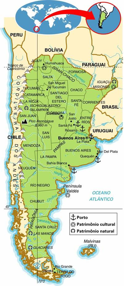 ARGENTINA, ASPECTOS GEOGRÁFICOS E SOCIOECONÔMICOS DA ARGENTINA
