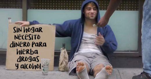 Video de un indigente pidiendo dinero para comprar drogas