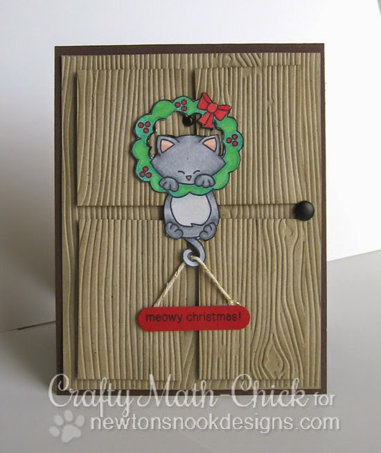 Christmas Favorites Week - Day 2 | Kitty on Door card by Crafty Math-chick | Newton's Holiday Mischief stamp set by Newton's Nook Designs #newtonsnook #christmascard