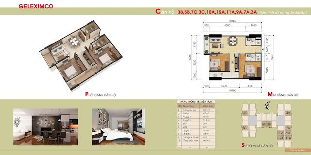 Mặt bằng điển hình các căn hộ tại chung cư Gemek Premium