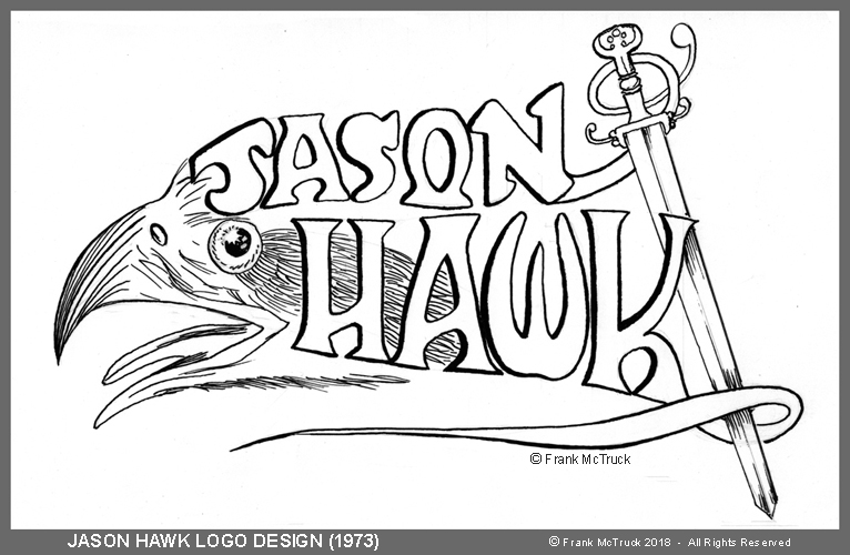 "A frank McTruck inked comic logo from the 1970s - ""Jason Hawk"""