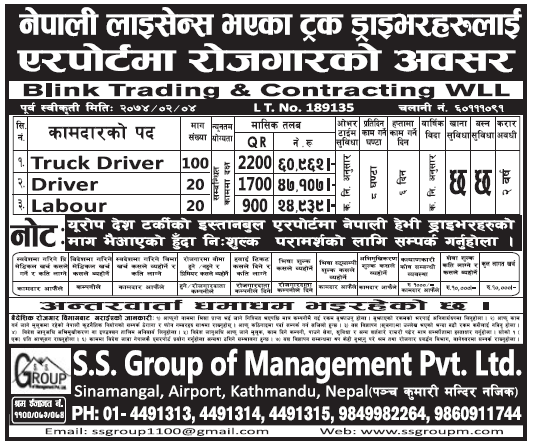 Jobs in Qatar for Nepali, Salary Rs 60,962