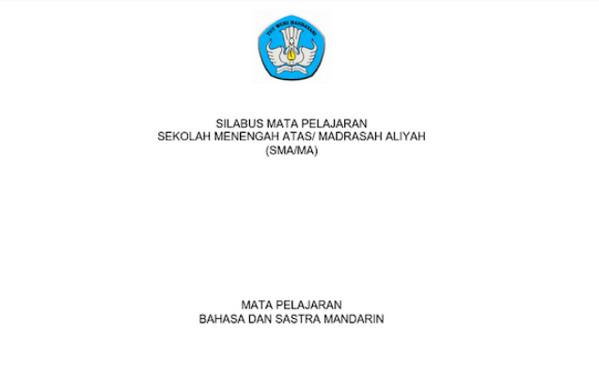 Silabus Bahasa Mandarin Peminatan SMA-MA Kurikulum 2013 Revisi 2017 pdf
