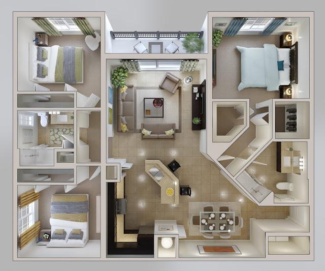 denah rumah minimalis 3 kamar tidur type 45