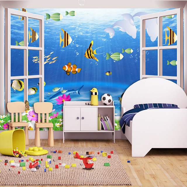 3d wall murals wallpaper Aquarium Window Landscape Underwater World Dolphin Fish Childrens wall murals kids room Wallpaper Children room Boy Room Wall Mural Bedroom