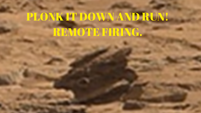 What looks like a tank turret on Mars with gun in tact.