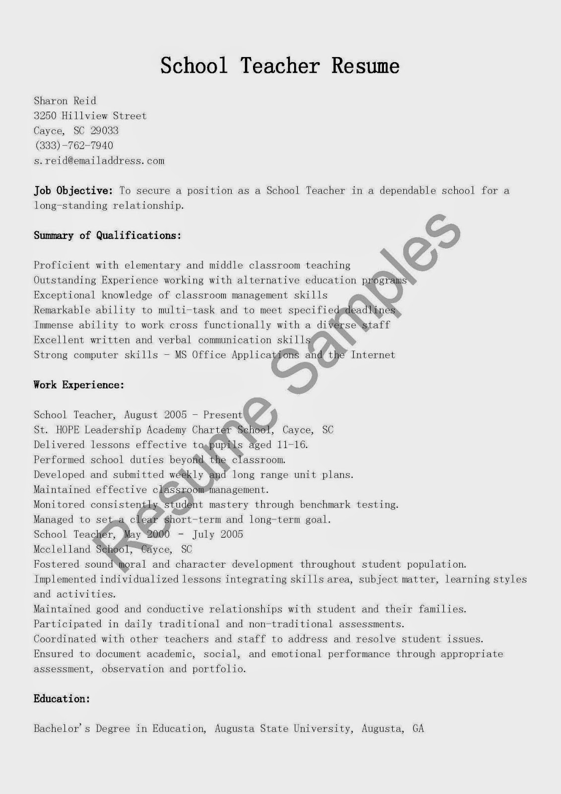 How Long Should A Teacher Resume Be Resume Samples School Teacher Resume Sample