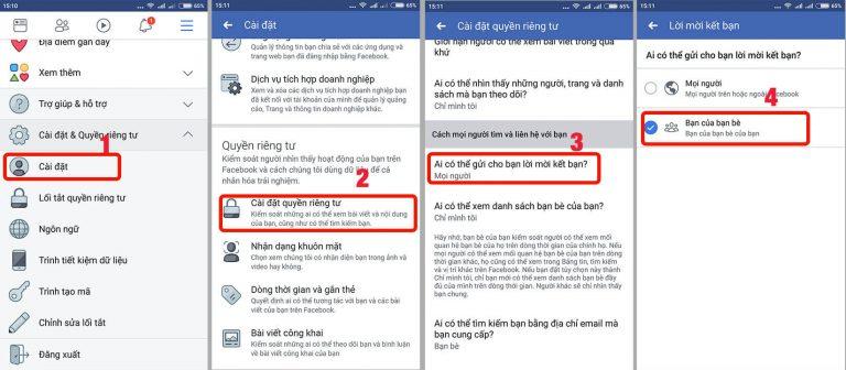 Chặn kết bạn trên ứng dụng facebook