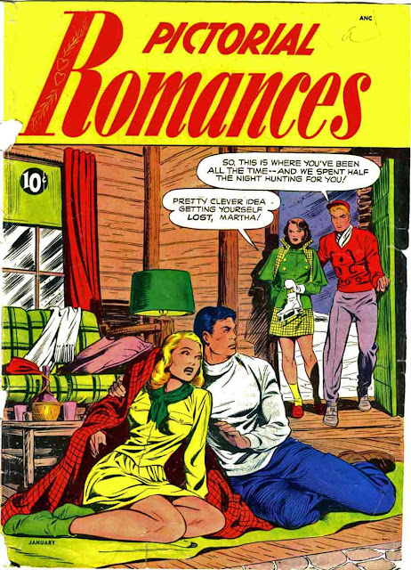 Pictorial Romances v1 #5  st. john romance comic book cover art by Matt Baker