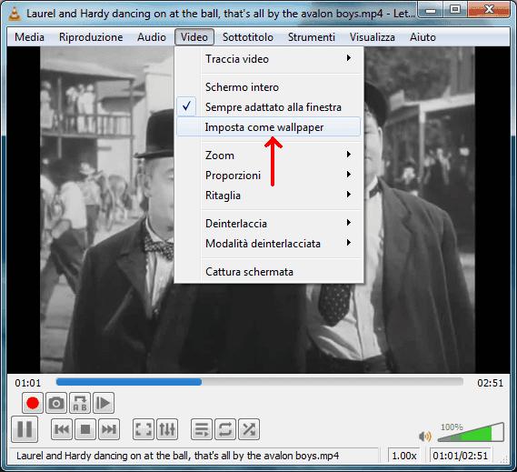 Lettore VLC menu Video opzioni Imposta come wallpaper