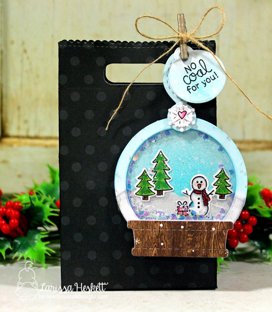 Snow Globe Shaker Christmas Tag by Larissa Heskett | Snow Globe Scenes Stamp Set  and Snow Globe Shaker Die Set by Newton's Nook Designs #newtonsnook