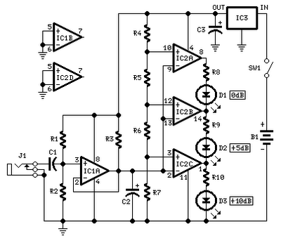 AUDIO PEAK LEVEL INDICATOR BY OP-AMP CIRCUIT SCHEMATIC