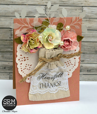 SRM Stickers Blog - Linen Bag with Lace Card by Christine - #card #fancystickers #doilies #linenandlacebag