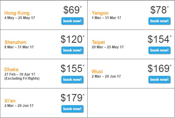 Bảng giá khuyến mãi Tiger Air bay từ Singapore ngày 23/2/2017