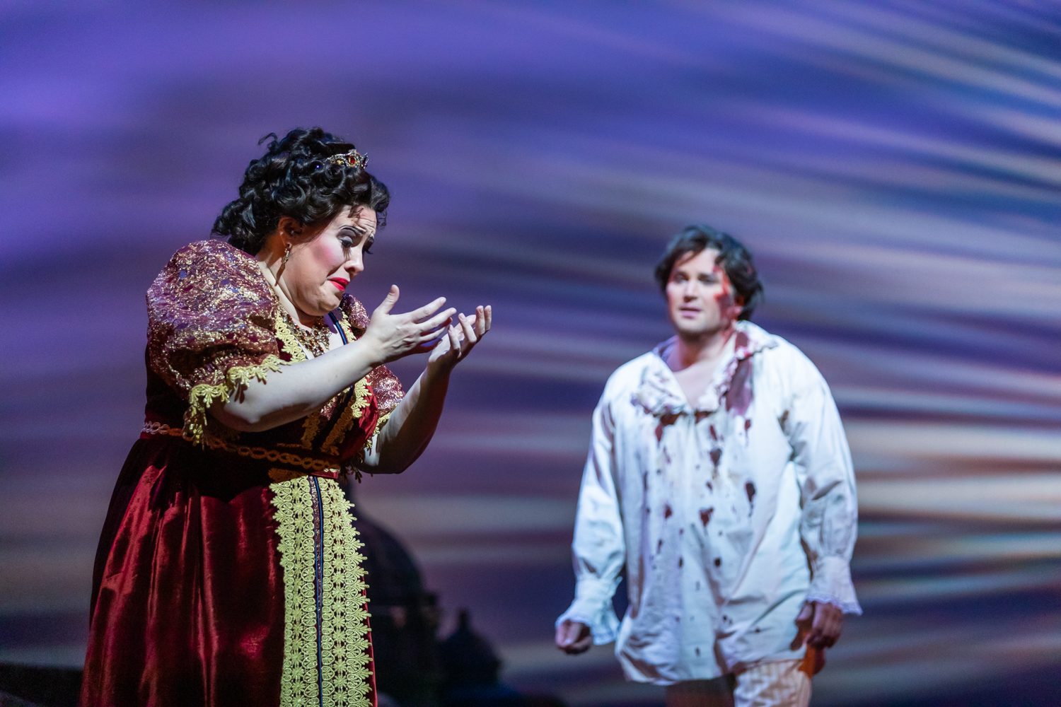 IN REVIEW: soprano ALEXANDRA LOBIANCO as Tosca (left) and tenor SCOTT QUINN as Cavaradossi (right) in North Carolina Opera's April 2019 production of Giacomo Puccini's TOSCA [Photograph by Eric Waters, © by North Carolina Opera]