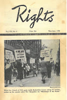 Front cover of the May-June 1960 issue of Rights magazine, including a photograph of protestors on the sidewalk holding signs with messages of support for Uphaus.