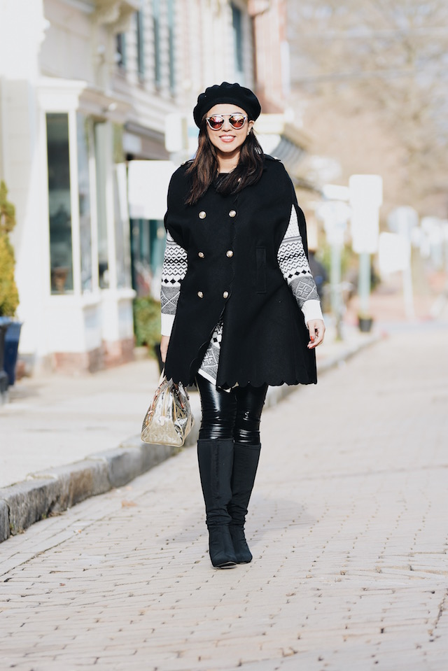 Winter Fashion by Mari Estilo- Wearing: Black Military Cape: SheIn Cardigan: Choies (Similar) Pants: Rachel Roy Bag: Michael Kors Boots: Nine West
