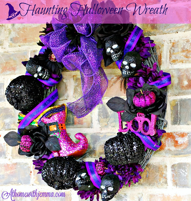 purple, black, skulls, mums on a grapevine wreath, athomewithjemma